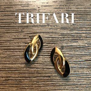 VTG TRIFARI Gold & Black Chain Link Loops Studs